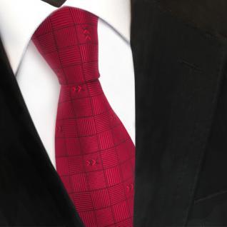 Designer Seidenkrawatte rot rubinrot gemustert - Krawatte Seide Silk