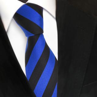 Designer Seidenkrawatte blau marine schwarz gestreift - Krawatte Seide Silk Tie