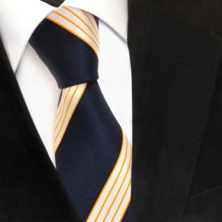 Designer Seidenkrawatte blau royal orange creme gestreift - Krawatte Seide Silk