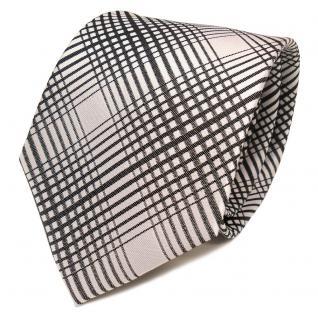 TigerTie Designer Seidenkrawatte anthrazit silber grau kariert - Krawatte Seide