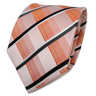 TigerTie Designer Seidenkrawatte orange schwarz weiß kariert - Krawatte Seide