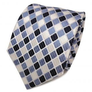 TigerTie Designer Seidenkrawatte blau royal weiß silber gemustert - Krawatte Tie