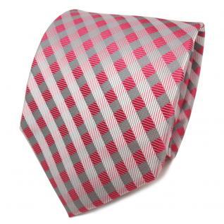 TigerTie Seidenkrawatte rot erdbeerrot grau silber kariert - Krawatte Seide