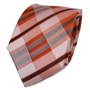 TigerTie Seidenkrawatte orange rotorange schwarz kariert - Krawatte Seide Tie