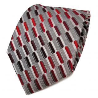 TigerTie Seidenkrawatte rot bordeaux weinrot grau silber gemustert - Krawatte