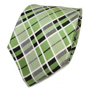 TigerTie Designer Seidenkrawatte grün grasgrün creme kariert - Krawatte Seide