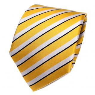 TigerTie Designer Seidenkrawatte gold silber schwarz gestreift - Krawatte Seide