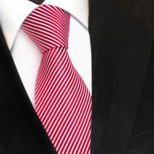 TigerTie Designer Seidenkrawatte rot knallrot weiß gestreift - Krawatte Seide - Vorschau 3