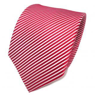 TigerTie Designer Seidenkrawatte rot knallrot weiß gestreift - Krawatte Seide