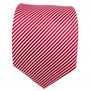 TigerTie Designer Seidenkrawatte rot knallrot weiß gestreift - Krawatte Seide - Vorschau 2