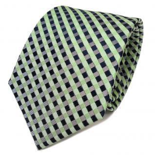 TigerTie Designer Seidenkrawatte grün royal grau kariert - Krawatte Seide