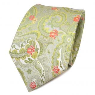 TigerTie Designer Seidenkrawatte grün hellgrün orange gemustert - Krawatte Seide