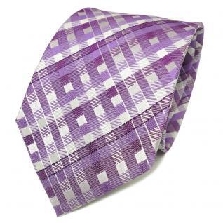 TigerTie Designer Seidenkrawatte lila violett weiß kariert - Krawatte Seide Tie