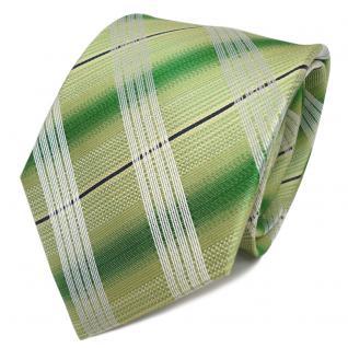 TigerTie Designer Seidenkrawatte grün silber weiß gestreift - Krawatte Seide