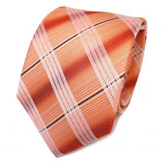 TigerTie Designer Seidenkrawatte orange weinrot silber gestreift- Krawatte Seide