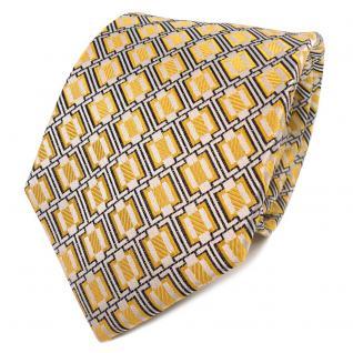 TigerTie Designer Seidenkrawatte gelb weiß schwarz gemustert - Krawatte Seide