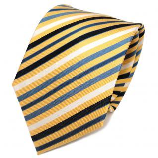 TigerTie Designer Seidenkrawatte gelb blau weiß royal gestreift - Krawatte Seide