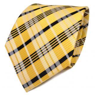 TigerTie Designer Seidenkrawatte gelb weiß schwarz kariert - Krawatte Seide