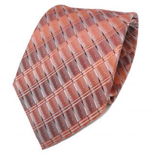 TigerTie Designer Seidenkrawatte orange perlorange silber gemustert - Krawatte