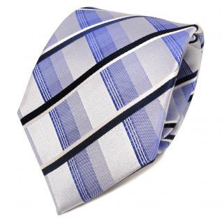 TigerTie Designer Seidenkrawatte blau silber weiß gestreift - Krawatte Seide