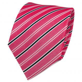 TigerTie Designer Seidenkrawatte rot weiß schwarz gestreift - Krawatte Seide