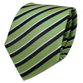 TigerTie Designer Seidenkrawatte grün royal weiß gestreift - Krawatte Seide Tie