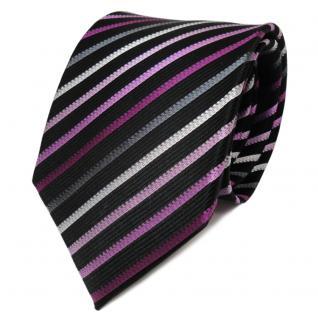 TigerTie Designer Seidenkrawatte lila magenta schwarz gestreift - Krawatte Seide
