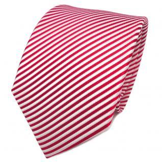 TigerTie Designer Seidenkrawatte rot leuchtrot weiß gestreift - Krawatte Seide