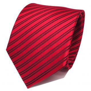 TigerTie Designer Seidenkrawatte rot verkehrsrot bordeaux gestreift - Krawatte