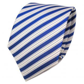 TigerTie Designer Seidenkrawatte blau marine weiß gestreift - Krawatte Seide