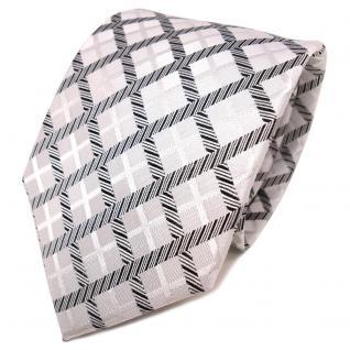 TigerTie Designer Seidenkrawatte weiß silber schwarz kariert - Krawatte Seide