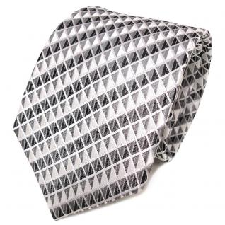 TigerTie Designer Seidenkrawatte silber grau anthrazit gemustert- Krawatte Seide