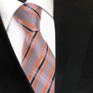 TigerTie Designer Seidenkrawatte grau orange schwarz gestreift - Krawatte Seide - Vorschau 3