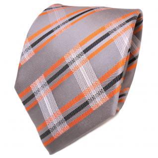 TigerTie Designer Seidenkrawatte grau orange schwarz gestreift - Krawatte Seide