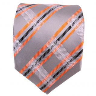 TigerTie Designer Seidenkrawatte grau orange schwarz gestreift - Krawatte Seide - Vorschau 2
