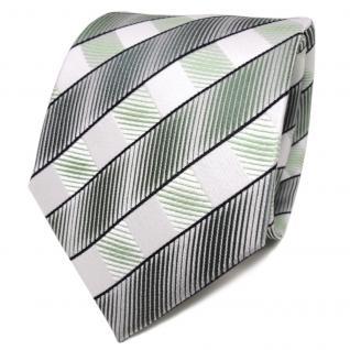 TigerTie Designer Seidenkrawatte grün weiß royal gestreift - Krawatte Seide