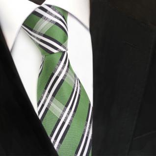 TigerTie Designer Seidenkrawatte grün royal weiß gestreift Krawatte Seide