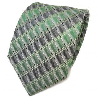 TigerTie Designer Seidenkrawatte grün silber grau gemustert- Krawatte Seide Tie
