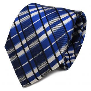 TigerTie Designer Seidenkrawatte blau silber schwarz kariert - Krawatte Seide