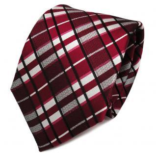 TigerTie Designer Seidenkrawatte rot silber schwarz kariert - Krawatte Seide