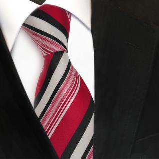 TigerTie Designer Seidenkrawatte rot anthrazit weiß gestreift - Krawatte Seide - Vorschau 3