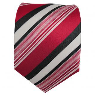 TigerTie Designer Seidenkrawatte rot anthrazit weiß gestreift - Krawatte Seide - Vorschau 2