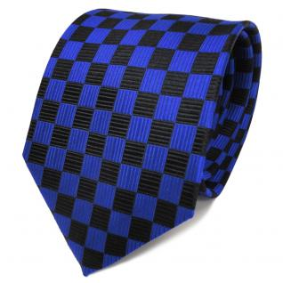 TigerTie Designer Seidenkrawatte blau marine schwarz gemustert - Krawatte Seide