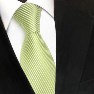 TigerTie Designer Seidenkrawatte grün hellgrün weiß gestreift - Krawatte Seide - Vorschau 3