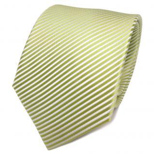 TigerTie Designer Seidenkrawatte grün hellgrün weiß gestreift - Krawatte Seide