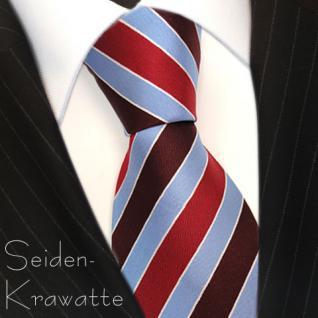 Seidenkrawatte rot bordeaux weinrot blau silber gestreift - Krawatte Seide - Vorschau 3