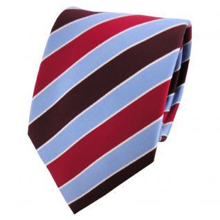 Seidenkrawatte rot bordeaux weinrot blau silber gestreift - Krawatte Seide - Vorschau 1