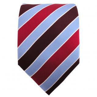 Seidenkrawatte rot bordeaux weinrot blau silber gestreift - Krawatte Seide - Vorschau 2