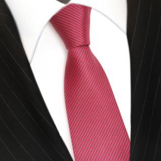 schmale Seidenkrawatte rot rosé grau gestreift - Krawatte Seide Silk Tie - Vorschau 3