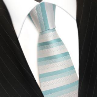 feine Designer Krawatte in türkis grün grau gestreift 100% Seide - Vorschau 3